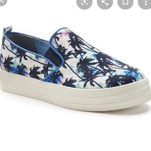 Juicy Couture watercolor palm tree shoes